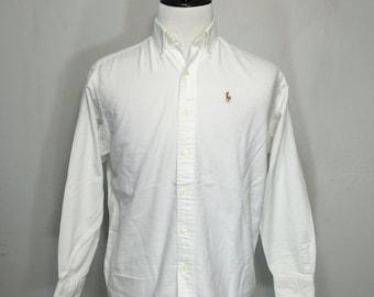 polo ralph lauren oxford button down shirt white size xs small
