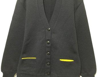 50's vintage lettered cardigan navy blue wool varsity womens