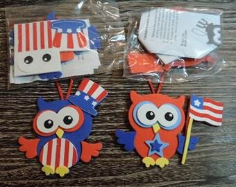 Kids craft kit - Patriotic Owl ornament kit - makes 2
