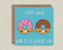 Anniversary Card Donut Greeting Card Fathers Day Doughnut Card Blank Card Love Card Anniversary Card Note Card Friendship Card I Love You