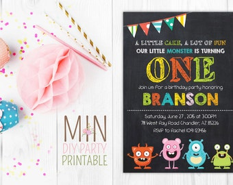 Monster Invite,Little monster birthday invitation, Monster invite,Monster party printable, Monster Birthday Invitation, first birthday
