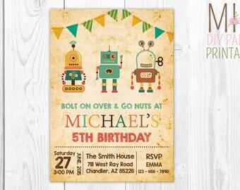 Robot Invite- Robot Invitation - Robot Birthday Invitation - Robot Party Invitation- Let's Go Nuts - Boy Robot Birthday Party