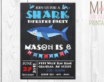 Shark Birthday Party Invitation_3, Shark Birthday Invite, Shark Party Invitations, Shark Birthday Invitations,Shark Birthday Party