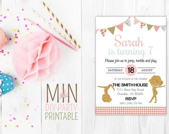 Glitter Gymnastic Invite_2,GYMNASTIC Birthday Invitation, Printable Gymnastics invitation, Gymnastic Invite, Gymnastic Party
