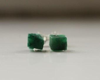 Raw Emerald earrings Tiny earrings Petite earrings Raw Emerald studs Sterling silver studs May birthstone earrings Birthstone jewelry Gift