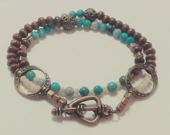Turquoise Wood Beaded Wrap Bracelet