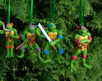 Miniature made Teenage Mutant Ninja Turtles set of four (4) Christmas Ornaments. Free Shipping