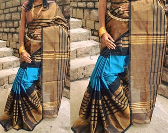 Blue and Black Stripes Uppada Silk (Pattu) Saree - A1012