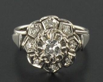 Ring Diamond white gold art-deco