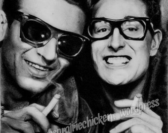 Buddy Holly and Waylon Jennings Portrait Drawing - PRINT