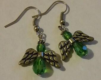 Nickle Free Emarld Green Angel Hook Earrings