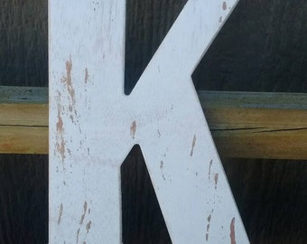 "Weathered Wooden Letter ""K"""