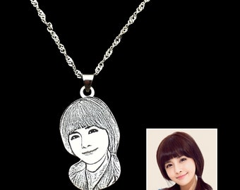 Custom Portrait, Custom Portrait from Photo,Portrait Pendant, Wearable Art Jewelry, Custom Hand Made Portrait Pendant,