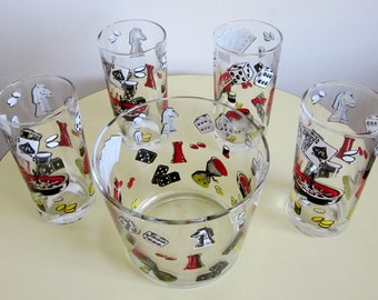 Barware Set Ice Bucket w/4 Highball Glasses Games Cards Gaming Dice