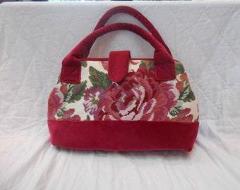 Large Carpet Bag. Floral Tapestry and Raspberry Velvet Bag. Mary Poppins bag. Carry-on Travel Bag. Doctors Bag. Gladstone Bag.