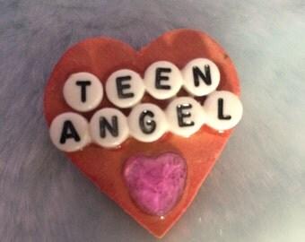 heart TEEN ANGEL handmade pin