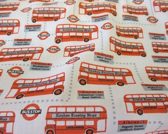 White & Red London Buses, Bus stop British Printed Polycotton Fabric. Price Per Metre