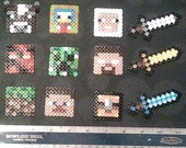 Minecraft Minis! Your Custom Skin, Cow, Magma Cube, Creeper, Steve, Wither & more! Perler beads keychain magnet options