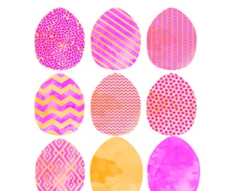 Pink and Orange Watercolor EASTER Egg Clip Art Digital Graphic Set - Fun Modern Patterns - INSTANT DOWNLOAD