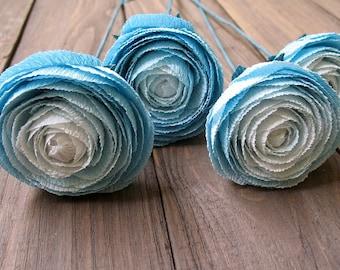 Color ombre blue ranunculus. Blue paper wedding flowers