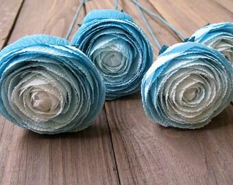 ON SALE! - 25% Color ombre blue ranunculus. Blue paper wedding flowers