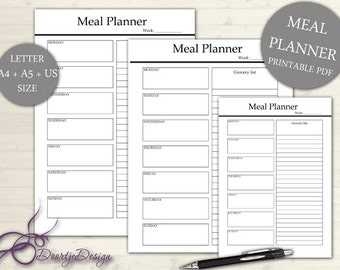 Printable Meal Planner, Meal Planner Printable, Weekly Menu Plan, Planner Pages Meal, Meal Planner, Shopping list, A4 US, INSTANT DOWNLOAD