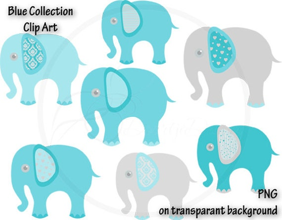 Digital Elephant Blue Clipart, Blue Elephant, Baby Shower ...