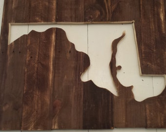Reclaimed Wood State of Maryland Plank/Outline