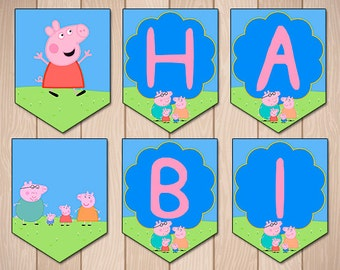 Peppa Pig Birthday Banner Party - Peppa Pig Flag Party Printable Banner Instant Download Decoration - Peppa Pig Birthday Prints