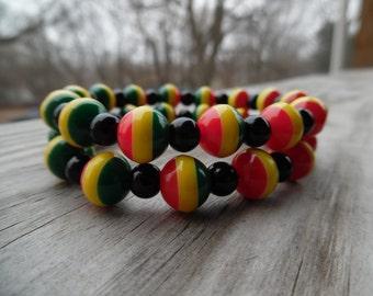 Rasta bracelet, Rasta beads, Rasta colors, Reggae, Dred beads, Jamaica beads, Beaded bracelet, Rastaman, Rasta jewelry