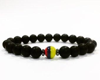 Colombian Bracelet,Venezuelan Bracelet,Ecuadorian Bracelet,black onyx beacelet,Colombian flag bracelet,Venezuelan flag bracelet,stone bracel