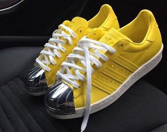 Customised 'Lemon Zest' Adidas Superstar 80s metal toe custom.