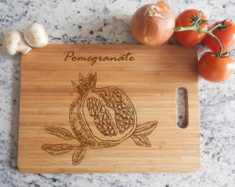ikb291 Personalized Cutting Board Wood Pomegranate fruit meal restaurant kitchen