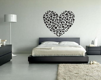 rvz012 Wall Vinyl Sticker Decals Eye Heart Leopard