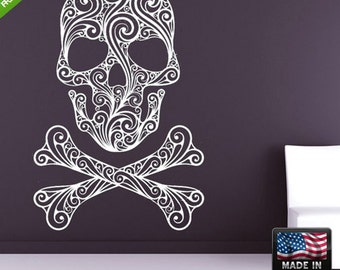 Skull Wall Decal sugar skull wall decal candy skull wall decal floral skull wall decal Skull Sticker for walls (Z137)
