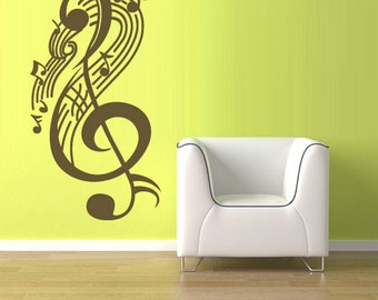 rvz1223 Wall Vinyl Sticker Decals Decor Music Note Listen Wave