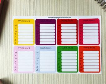 Work Hours Planner Stickers