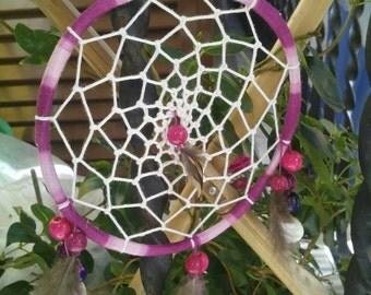 Handmade dream catchers with Fuchsia feathers agate fagiana
