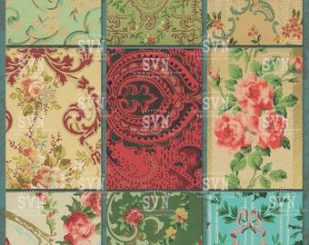 Vintage Wallpaper - 9 different designs -  1 Printable ATC Cards Digital Collage Sheet