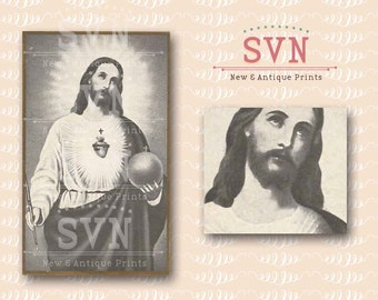 Jesus Christ - Sacred Heart - Antique Holy Card - Digital Printable Vintage Image - Religious Spiritual - Instant Download