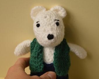 Crochet teddy bear, White bear toy, Amigurumi doll