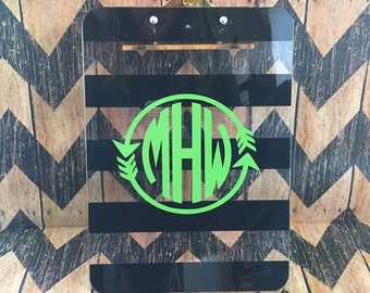 Beautiful black and Clear stripped Monogrammed Clipboards