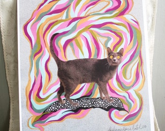 Art Print - Psychedelic Cat 3 - 8.5 x 11 inches