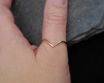Thumb ring, Chevron 14k Gold filled ring or sterling silver 0.925, made at your size. V ring. Skinny ring, thin ring, stacking ring.