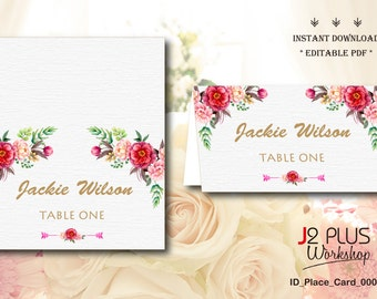 INSTANT DOWNLOAD Floral Wedding Place Cards Printable, Escort Cards, Table Cards, Wedding Seating Cards Instant Downlaod, DIY Editable pdf