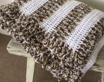 Hand Knitted Blanket / Throw - Grey/brown & white
