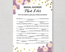 Gold Confetti Bridal Mad Libs, Bridal Shower Game, Purple and Pink Floral Bride Advice Card Wedding Shower, Engagement Party - SKUHDG17