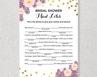 30% OFF Bridal Mad Libs, Bridal Shower Game, Purple and Pink Floral Bride Advice Card Wedding Shower, Engagement Party - SKUHDG17