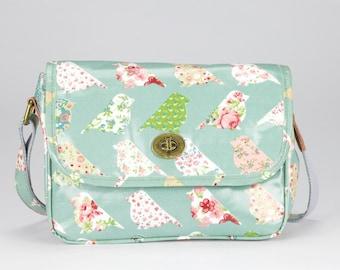 Oilcloth Crossbody bag - Green bird - Ladies Purse - Ladies Handbag -Satchel - Oilcloth bag - Oil cloth Turnlock bag - Laminated cotton