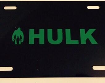 Boy Inside Monster -  Black with Green License Plate INSERT-  Super Hero Hulk
